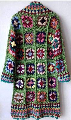 Crochet Coat, Crochet Cardigan Pattern, Granny Square Crochet Pattern, Crochet Jacket, Crochet Squares, Crochet Granny, Crochet Clothes, Crochet Stitches, Crochet Patterns