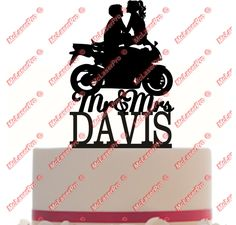 Custom Wedding Cake Topper with any name - Motorcycle Silhouette - Color Choice #CustomMade