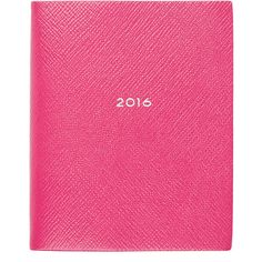 Smythson 2016 Panama Fashion Diary (£160) ❤ liked on Polyvore featuring home, home decor, stationery and pink