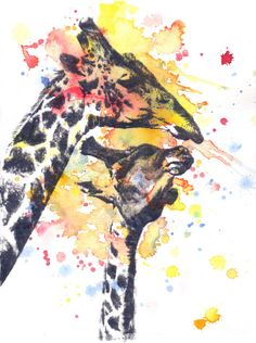 Cute Giraffe Art Print Splash of Watercolor Painting Bright Unique Safari Animal Nursery Decor Children's Wall Art Poster Giraffe Art, Cute Giraffe, Wildlife Paintings, Wildlife Art, Watercolor Animals, Watercolor Paintings, Giraffe Illustration, Painting Prints, Art Prints