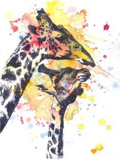 Portrait of a Giraffe Original Watercolor Painting 85 by idillard, $45.00