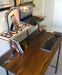 DIY pipe desk ideas are always needed, especially by those who love crafting stuff and making furniture on their own. Pipe desk is basically a kind of Industrial Pipe Desk, Industrial Interior Design, Vintage Industrial Furniture, Industrial House, Industrial Interiors, Industrial Shelving, Industrial Closet, Industrial Windows, Industrial Bathroom