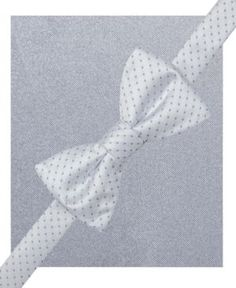 Alfani Spectrum Alex Pindot Pre-Tied Bow Tie and Pocket Square Set, Only at Macy's - White