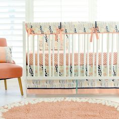 Coral and navy baby bedding is the perfect combination of colors for your little girl's nursery! Our Summer Grove Crib Collection will bring the happy vibes of summer into your nursery all year round!