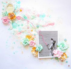 Layouts We Love | May 2015 - Featured on the Scrapbook.com blog Layouts We Love blog post. We adored the soft colors and the string placed over the photo of the kite string!