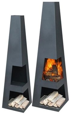 Gartenkamin / Terrassen-Feuerstelle Sanga XL Black