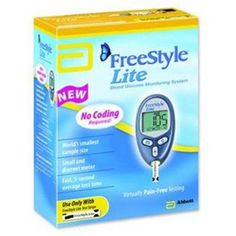FreeStyle Lite Blood Glucose Monitoring System - 1 ea Eliminates virtually all the pain of testing and thereby helps to encourage good diabetes control. Blood Glucose Monitor, Blood Glucose Levels, Glucose Test, Type 1 Diabetes, Good Blood Pressure, Diabetes Supplies, Diabetic Cookbook, Fun Workouts