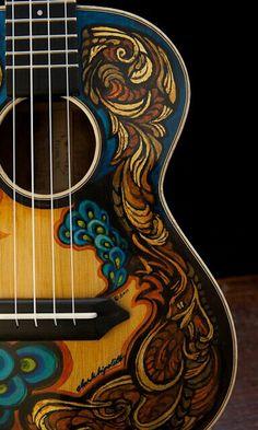 Handmade Ukulele by custom guitar builder Jay Lichty, artwork by Clark Hipolito Impression Poster, Stoner Rock, Art Ancien, Guitar Painting, Painting Canvas, Essayist, Guitars For Sale, Beautiful Guitars, Artists