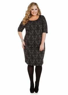 (I would buy this for work, but it could also double as a great Sherlock [BBC] cosplay. All you'd need is some sort of yellow smiley face broach or pin! -SA 1/12/2014) Amazon.com: Ashley Stewart Women's Plus Size Flocked Baroque Dress: Clothing