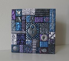 Polymer Clay Tile Mosaic Purple/Blue/Silver 5 x 5 Inch Assemblage Mixed Media Polymer Clay Projects, Polymer Clay Creations, Polymer Clay Art, Handmade Polymer Clay, Clay Crafts, Tile Art, Mosaic Art, Mosaic Pieces, Play Clay
