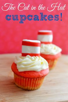 Dr. Seuss Birthday Cupcakes (substitute with vegan cupcake recipe and marshmallows!) I love the fruit and marshmallow hat idea.