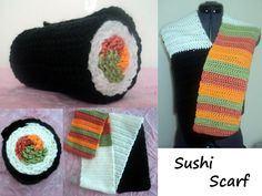 Crocheted Sushi Scarf by ~MazokuCreations on deviantART