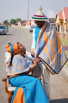 Shweshwe Pants, Jumpsuit and Wedding Dress for onto Tswana Wedding/Shweshwe Attire Board in Southern Africa Category. African Bridal Dress, African Print Dresses, African Print Fashion, African Wear, African Attire, African Fashion Dresses, African Women, Xhosa Attire, African Dress