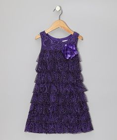 Take a look at this Purple Paisley Tiered Ruffle Dress - Girls by Youngland on #zulily today!