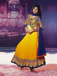 Yellow and Blue Georgette Anarkali Suit with Resham Embroidery  Work