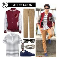 """""""Varsity Dapper"""" by dappervigilante ❤ liked on Polyvore featuring Uniqlo, Ray-Ban, adidas and HUGO"""