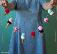 pom pom ice cream cone garland - no sewing is involved, but how cute it this! Ice Cream Cone Craft, Ice Cream Theme, Diy Ice Cream, Ice Cream Crafts, Pom Pom Garland, Diy Garland, Pom Poms, Crafts For Teens To Make, Crafts To Sell