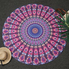 $9.56 Bohemia Feather Mandala Print Round Beach Throw - Deep Purple