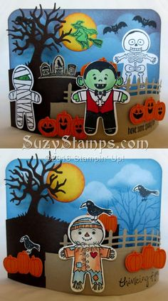 Stampin' Up! Cards - 2016-10 Class - Cookie Cutter Halloween, Spooky Fun and Sheltering Tree stamp sets, Halloween Scenes Edgelits Dies and Cookie Cutter Builder Punch, Bendy Fold, 2016 Holiday Catalog