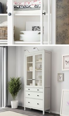 Keep your dinnerware on display and within reach! The IKEA HEMNES glass-door cabinet with three drawers is made of solid wood that has a natural feel. Three large drawers are perfect for hidden, dust-free storage.