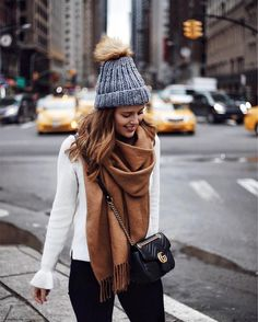 STREET STYLE - New York City. Winter layering with a camel scarf fb3b7a62050