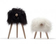 Povl Kjer's Tuft stool riffs on his previous piece for Danish Crafts, the mirthful, imaginative Rocking Sheep. This piece comes in two sizes–a small child's stool or footstool and a larger version that can be used at the kitchen table or as a barstool. Kids Furniture, Furniture Design, Ottoman Stool, Sheep And Lamb, Deco Design, Wood Design, Take A Seat, Danish Design, Home Accessories