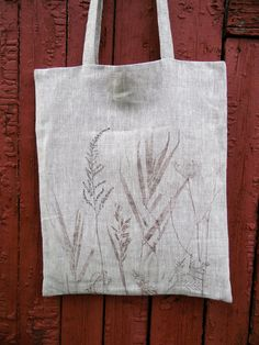 Floral Linen Tote Bag Natural Linen Bag Hand Painted Bag by olyiri