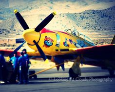 SALE  airplane art - 20% off - nose art - fine art photo - yellow Hawker Sea Fury  Reno Air Races pit crew