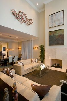 Living Dining Room Combination Use Of Double Height Wall Space For Art Single Differentiates Different Uses