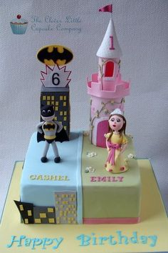Princess Castle and Batman Cake Cake by CleverLittleCupcake Omg! This is what I need for Seth and Hannah's birthday! Cute!!!
