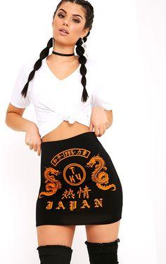 Japan Print Black Mini Skirt|prettylittlething.com