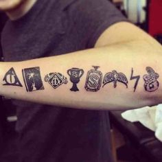 Really great Harry Potter tattoo of all the horcruxes.