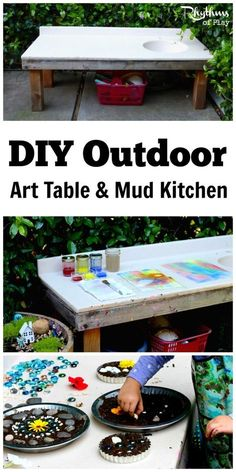 This DIY outdoor art table and mud kitchen is a wonderful play space for any backyard. You can use it for projects of all kinds. It's perfect for doing arts & crafts, making mud pies, gardening with kids, working on STEAM projects, doing sensory activitie