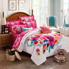 Deep Pink Turquoise and White Watercolor Painting Exotic Colorful Flower Rustic Asian Inspired Girls Bedroom Idea Full, Queen Size Bedding Sets - EnjoyBedding.com