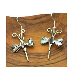 Abalone and Alpaca Silver Dragonfly Earrings Artisana via Polyvore featuring jewelry, earrings, hook earrings, alpaca earrings, wing earrings, abalone jewelry и silver jewellery