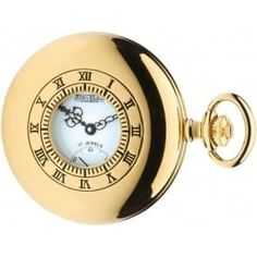 96146b9e645 Half Hunter Gold Plated Mechanical Pocket Watch With White Face Hunters  Gold