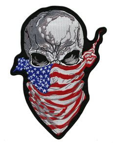 Skull Bandana American Flag Patch Large Motorcycle Military Jacket Iron On Flag Patches, Biker Patches, Jacket Patches, Patriotic Images, American Flag Patch, Iron On Embroidered Patches, Skull Art, Bandana, Applique