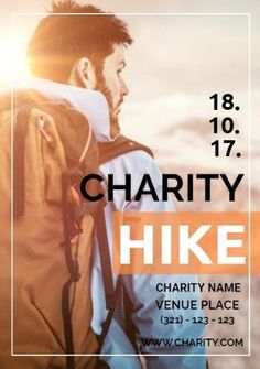 A creative charity event poster template. A background image of a hiker with charity hike also included.