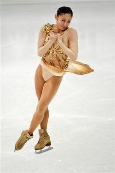 Miki Ando, Nebelhorn Trophy 2013,  Gold/Natural-hued Figure Skating / Ice Skating dress inspiration for Sk8 Gr8 Designs.