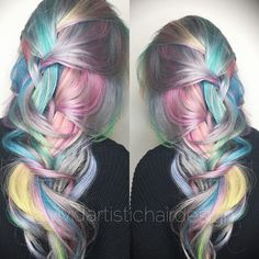 Silky soft muted rainbow hair @vividartistichairdesign
