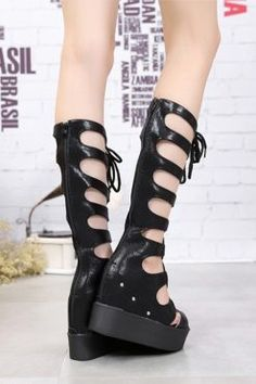sandale cu platforma negre CHL