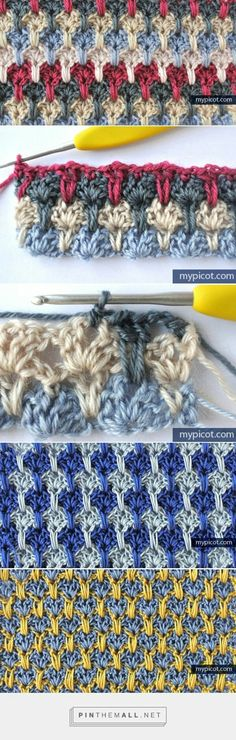 Crochet Stitches Tutorial - Here's a beautiful crochet stitch tutorial with many photos and clear instructions. Lovely stitch and love the yarn. Beau Crochet, Crochet Diy, Crochet Motifs, Crochet Stitches Patterns, Love Crochet, Beautiful Crochet, Crochet Crafts, Crochet Hooks, Crochet Projects