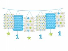 Girlanda lampióny 1.narodeniny baby-boy dots - PARTYSPIRIT.SK Baby Boy First Birthday, Ideas Para Organizar, Valance Curtains, First Birthdays, Lanterns, Paper Lanterns, Garlands, Celebrations, Cook
