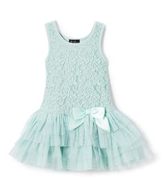 Look what I found on #zulily! Lilt Mint Lace & Tulle Drop-Waist Dress - Toddler by Lilt #zulilyfinds