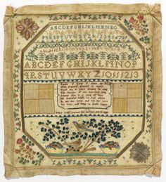 Sampler, 1821. Medium: silk embroidery on wool foundation Technique: embroidered in counted cross, satin, eye, stem and running stitches on plain weave foundation.