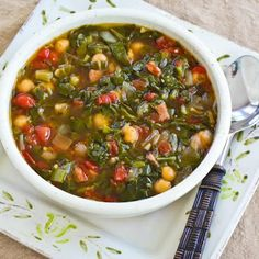 Recipe for Chard and Chickpea Soup with Sausage and Green Pepper More