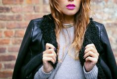 Grey + black separates with a bold lip #winter #fashion #streetstyle