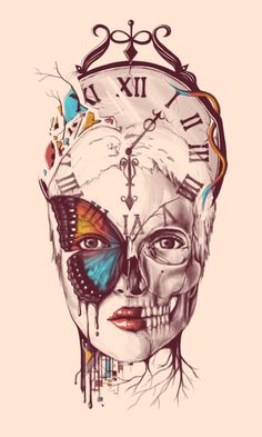 """Applied art commercial art print illustration by Norman Duenas titled """"A Butterfly Effect."""" I really love the artists combination of nature with the human figure/skull and the depiction of a clock. It gives a great sense of the passage of time. Art Prints, Modern Artwork, Tattoos, Skull Art, Art Tattoo, Drawings, Illustration Art, Art, Beautiful Art"""