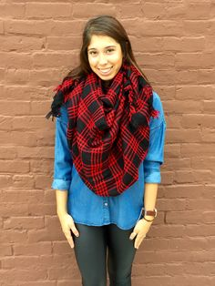 Falling Leaves Blanket Scarf- Red from Shop Southern Roots TX
