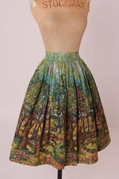 Vintage original 1950s 50s novelty scenic print skirt Art